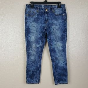 Mossimo Women's Jeans Size 4 Skinny Crop Blue Flor